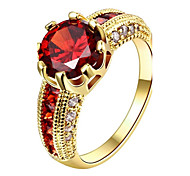 Sweet Big Round Red Stone Crystal Ring Engagement Wedding Ring for Women Girls Chirstmas Party Gift Fashion Jewelry