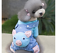 Dog Clothes/Jumpsuit Dog Clothes Cute Cartoon Blue Blushing Pink