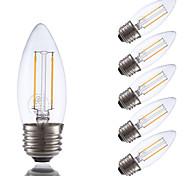 2W E26 LED Filament Bulbs B10 2 COB 200 lm Warm White Dimmable 120V 6 pcs