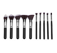 10 Makeup Brushes Set Nylon Portable Wood Face  G.R.C / Send Package