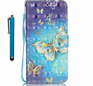 For Samsung Galaxy S7 edge S7  Case Cover with Stylus Gold Butterfly 3D Painting PU Phone Case S6 edge S6 S5 S4