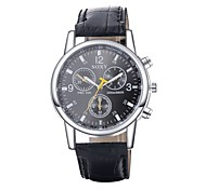 Men's Dress Watch / Fashion Watch Quartz Water Resistant/Water Proof Leather Band Casual Black Brand
