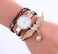 Women's Bracelet Watch Quartz Leather Band Flower Black Blue Grey