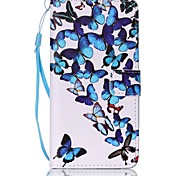 Blue Butterfly Painted Card Stent PU Leather Mobile Phone Holster Phone Case for Huawei P9 Lite Y5II Y6II