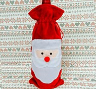 cubierta de la botella de vino rojo bolsas mesa de cena en casa decoración de la Navidad Santa Claus Décors