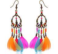 New Arrival Indian Jewelry Bohemia Boho Earrings Colorful Feather Long Hanging Earrings Wholesale Fashionable Jewelry