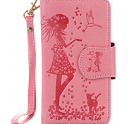 For LG K10 K8 K7 nexus 5x PU Leather Material Woman and Cat Pattern Embossed 9 Cassette With Mirror Phone Case