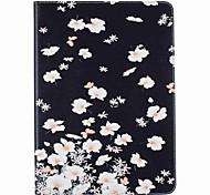 Small White Flowers Pattern Painted PU Leather Material Card Flat Shell for  ipad Air  Air 2