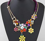 Women European Style Fashion Colorful Gemstone Flower Statement Necklace