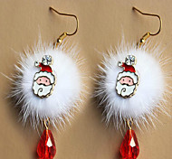 European And American Fashion Santa Claus Plum Fawn White Pompon Red Crystal Christmas Earrings Accessories
