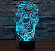 Glasses Man Touch Dimming 3D LED Night Light 7Colorful Decoration Atmosphere Lamp Novelty Lighting Christmas Light