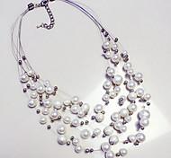 Korean Woman Fashion Multi-storey Pearl Circle Pearl White Necklace