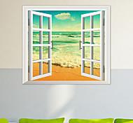 3d adesivos de parede janela água do mar material de PVC de parede pele decorativo adesivos