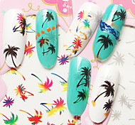 3PCS Water Transfer Nail Stick Color Black Gray Coconut Tree