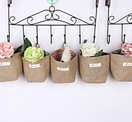 Retro Jute Hanging wall Storage Box Random Color