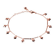 The Rose Golden Heart-shaped Anklets