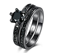 Double Ring Round CZ Titanium steel Engagement Rings Sets For Women Black GUN Plated 316L Crystal Wedding Ring Jewelry