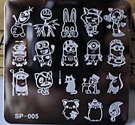 новый шаблон маникюр ногтей штамповки пластин персонажей мультфильма конструкций переноса образа диска печать