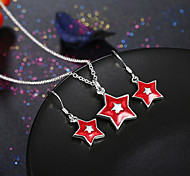 Jewelry Set Chrismas Star White Red Party Daily Casual 1set 1 Necklace 1 Pair of Earrings Wedding Gifts