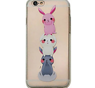 For iPhone 6S 6plus Case Cover Three Little Rabbits Pattern Embossed Scrub TPU Material Phone Case