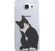 For Samsung Galaxy A5 A3 (2016) Case Cover Black Cat Pattern High Permeability Painting TPU Material Phone Case