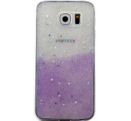 ForSamsung Galaxy S7 S6 Edge Case Cover Light Purple Flashing Stars Pattern TPU  Acrylic Material Phone Shell
