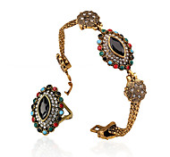 Colorful Turquoise Austria Crystal Elegant Jewelry Set Ring Bracelet Wedding Jewelry Sets For Brides Bridesmaid Necessary
