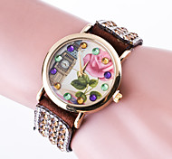Reloj Mujer Top Brand Women's Casual Wrist Watch Quartz Bracelet Watch Ladies Rhinestone Band And London Tower Rose Dial