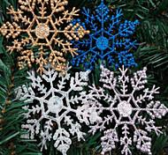 decorazioni 4pcs fiocco di neve di Natale in polvere 10 * 6,5 centimetri colore casuale
