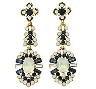 Beautiful Colorful Rhinestone Flower Long Earrings Women