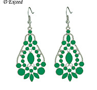Newest Elegant Green Enamel Water Droplets Silver Plated Drop Earring For Christmas Gift ER140431