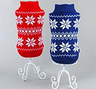 Коты Собаки Свитера Красный Синий Одежда для собак Зима Весна/осень В снежинку Классика Рождество Новый год