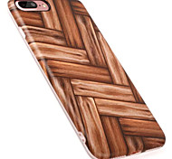 For IPhone 7Plus 7 6Plus 6 TPU Material Weave Wood Grain Back Case with Lens protection ring