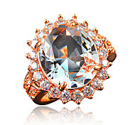 Romantic Style Wedding Dress Ring Jewelry for Women with Red Zircon