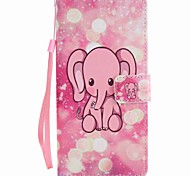For  Xperia XA Ultra X Performance Z5 Case Cover Pink Elephant Painted Lanyard PU Phone Case