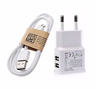 5V 3.1A Dual Ports USB EU Wall Charger Adapter with 1M V8 Micro USB Cable For Samsung LG SONY Huawei Xiaomi Google Pixel and Others