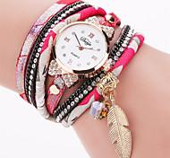 Women's Fashion Watch Bracelet Watch Quartz PU Band Vintage Casual Black White Silver Red Pink