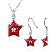 Jewelry Chrismas Star White Red 1 Necklace 1 Pair of Earrings For Party Halloween Daily Casual 1set Wedding Gifts