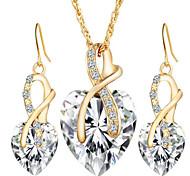 Жен. Набор украшений Серьги-слезки Ожерелья с подвесками Кристалл Имитация Алмазный Любовь бижутерия европейский Свадьба Elegant Хрусталь
