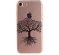 For iPhone 7 6S 6 TPU Material IMD Process Black Tree Pattern Phone Case