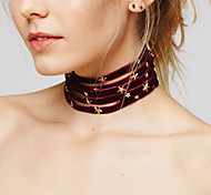 Women's Choker Necklaces Jewelry Velvet Alloy Star Fashion Black Gray Red Blue Camel JewelryParty Halloween Birthday Daily Casual