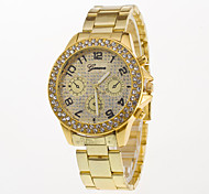 Men's Stainless Steel Wrist Watches Quartz Watch Women with Rhinestone Watchcase of Gold Silver Rose gold Band