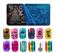 1PCS рождественские ногтей образцы искусства штамповочные пластины зима снег цветы печати