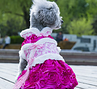 Dog Dress Dog Clothes Wedding Fashion Flower Green Blushing Pink