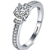 Plated Luxury AAAAA Level CZ Engagement Wedding Ring Pure Solid Genuine Platinum Plated Jewelry For women 820