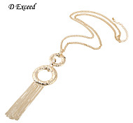 Lucky Fashion Tassels Alloy Statement Pendant Long Necklace for Women