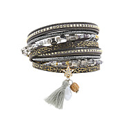 Women's Charm Bracelet Wrap Bracelet Leather Bracelet Bracelet Leather Rhinestone Feather Simulated DiamondFashion Vintage Bohemia