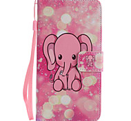 For Google Pixel XL Pixel PU Leather Material Pink Elephant Pattern Painting Phone Case