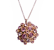 Fashion Full Rhinestone Inlay Flower Titanium Steel Four Pendant Necklace