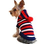 Cat Dog Sweater Hoodie Dog Clothes Winter Spring/Fall Stripe Fashion Christmas New Year's Yellow Red